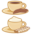 cups of coffee with a chocolate and cream vector image vector image