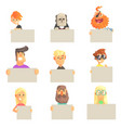 different people holding blank boards set smiling vector image vector image