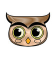 drawing face owl bird character vector image vector image