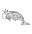 dugong coloring book page for adult vector image vector image