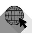 earth globe with cursor black icon with vector image vector image