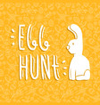 easter rabbit card quote on doodle background vector image vector image