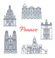 france travel landmarks buildings icons vector image vector image