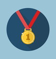 Golden medal flat icon vector image