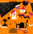 halloween seamless pattern in memphis style vector image vector image
