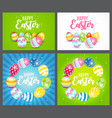 happy easter cute background with eggs collection vector image vector image