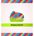 happy easter with striped eggs in grass vector image vector image