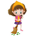happy girl sweeping leaves vector image