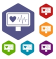 Heartbeat icons set vector image vector image
