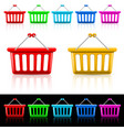 icons with shopping baskets on white and black vector image vector image