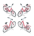 Isometric flat womens bicycle Stylish womens pink vector image