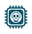 melting cpu icon with skull cyber security vector image
