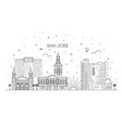 minimal san jose city linear skyline vector image