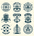 nautical set of nine vintage style emblems vector image vector image