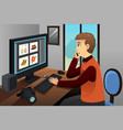 photographer working on editing pictures vector image vector image