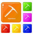 pickaxe icons set color vector image vector image