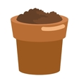 pot with soil icon vector image vector image