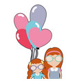 pretty girls with hairstyle and balloons vector image vector image