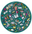 set of designer cartoon doodle objects symbols vector image vector image