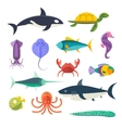 set of sea marine fish and animals vector image vector image