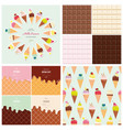 sweets big set ice cream cone seamless pattern vector image vector image