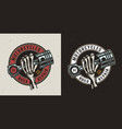 vintage motorcycle maintenance service print vector image vector image