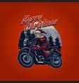vintage santa claus riding a motorcycle merry vector image