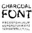 Charcoal font Letters from charcoal Black tattered vector image