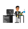 asian man sitting at office desk with computer vector image vector image