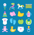 babies set toys clothes and diapers icons vector image vector image
