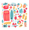 big set summer vacation items accessories vector image