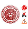 biohazard danger trends seal with scratched style vector image vector image