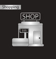 black and white style icon shop vector image vector image