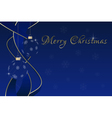 blue Christmas greeting card - baubles and ribbons vector image vector image