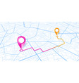 blue gps navigator pins on a roads map vector image