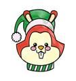 cartoon face squirrel christmas scarf image vector image vector image