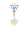 cartoon fairy with a magic wand on a flower vector image vector image