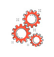 cartoon gear icon in comic style gearwheel vector image