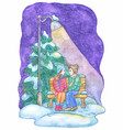 christmas and new year greeting card with couple vector image vector image