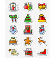 christmas and new year icons set thin simply line vector image vector image