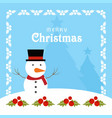 christmas card with frame and blue background vector image vector image