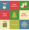 christmas retro set vector image vector image