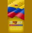 colombian independence day vertical flyer vector image vector image