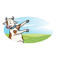 cow with cartoon style presenting blank space vector image