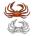 crab isolated seafood and fishery sketch icon vector image vector image