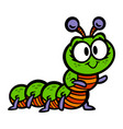 cute crawling caterpillar bug cartoon vector image vector image
