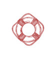 drawn of lifebuoy in marine vector image