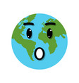 earth globe surprise emotion vector image vector image