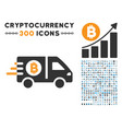 fast bitcoin delivery car flat icon with set vector image