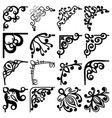 floral black and white corners set vector image